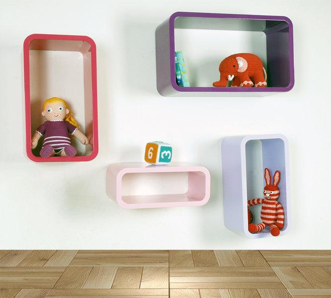 Bücherregal Set, rechteckig violett und rosa  JoBi  ~ Bücherregal Rosa